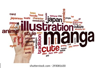 Manga word cloud concept with illustration japanese related tags