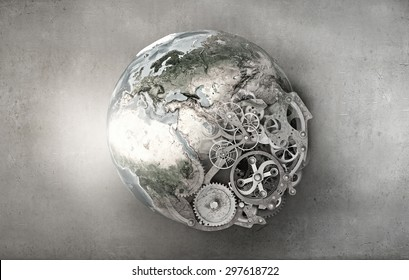 Conceptual image with Earth planet made of gears. Elements of this image are furnished by NASA