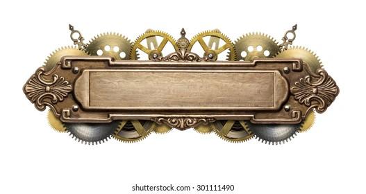 Collage de steampunk mecánico estilizado. Fabricado en estructura de metal y detalles de mecanismo de relojería.