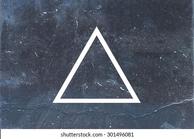 White flat triangle on abstract stone background. Abstract psychedelic background.