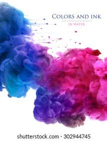 Acrylfarben und Tinte in Wasser. Abstrakter Hintergrund. isoliert auf weiß.