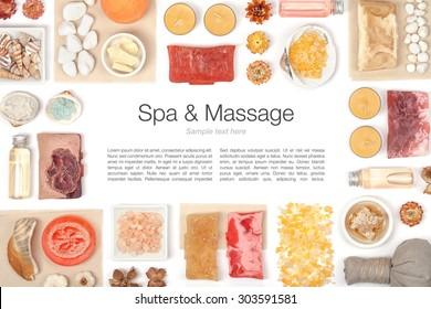 Elementos de spa y masaje sobre fondo blanco.