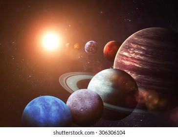 太陽系と宇宙オブジェクト。NASAによって提供されたこの画像の要素