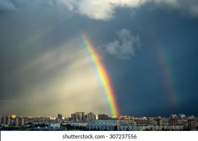Industrial city urban house sky rainbow rain