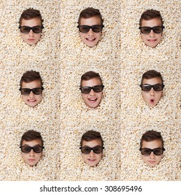 Set grimace, facial expressions. Young boy in stereo glasses, popcorn