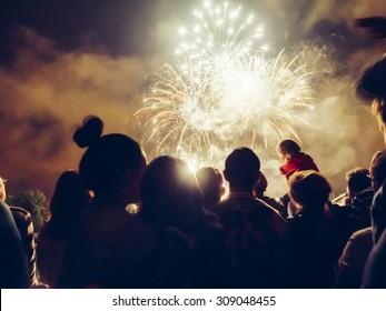 Menigte kijken naar vuurwerk en vieren