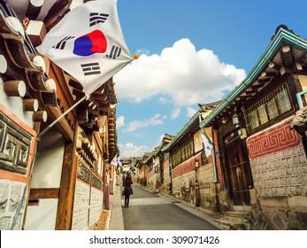 Arhitektura tradicionalnog korejskog stila u selu Bukchon Hanok u Seulu, Južna Koreja.
