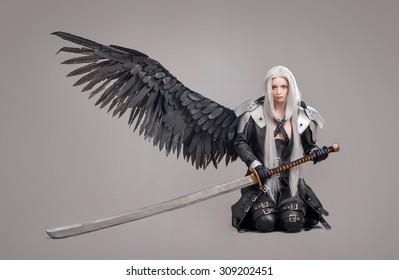Fantasie Frau Krieger. Frauenkrieger mit Schwert und Flügeln lokalisiert auf dem grauen Hintergrund