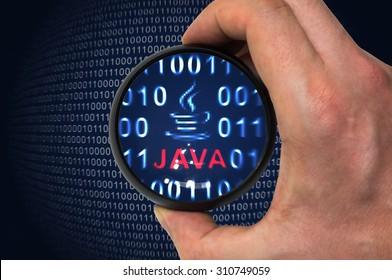 Java-Programmiersprache und Binärcode in der Lupe