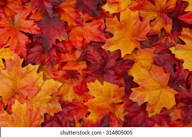 Fondo de hojas de otoño rojo y naranja