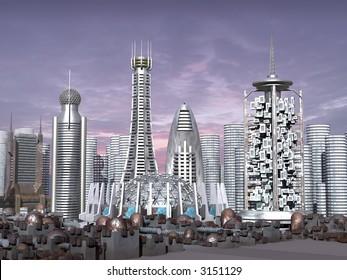 3D-Modell der Sci-Fi-Stadt mit futuristischen Wolkenkratzern