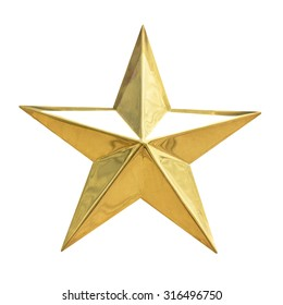 白い背景で隔離のゴールデンクリスマススター。上面図クローズアップゴールドスターレンダリング(白とクリッピングパスで分離)