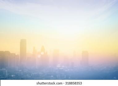Abstract blur big city skyline landscape sunrise background. Bangkok city, Thailand, Asia