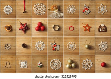 Christmas tree decorations collage on a wooden background.