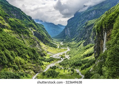 Green river valley canyon wide summer panorama Alpine mountain landscape