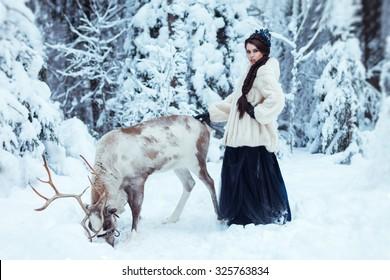 Snow Queen frozen with deer