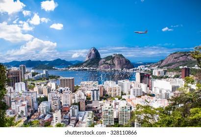 Panoramic view of Rio De Janeiro and Sugar Loaf, Brazil .