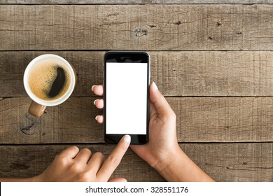 Hand mit Telefon weißen Bildschirm in der Draufsicht