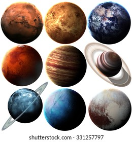 High quality solar system planets. Elements of this image furnished by NASA