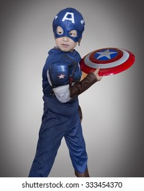 Cute Asian boy role play Captain America before performance show