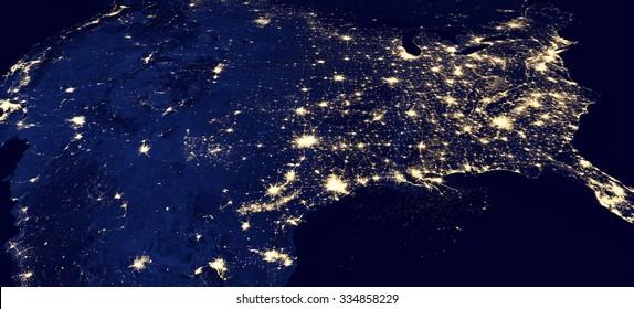 夜のアメリカのパノラマ-NASAから提供されたこのイメージの要素