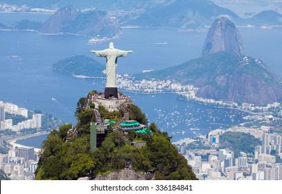 Aerial view of Rio de Janeiro with Christ Redeemer and Corcovado Mountain