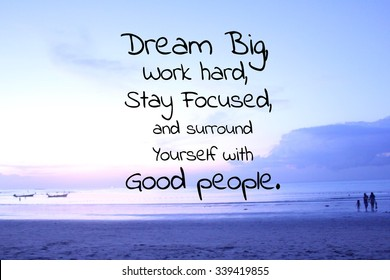 Inspirational quote on blurred beach background
