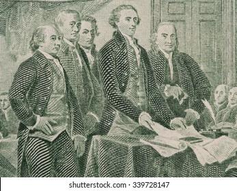 Firma de la declaración de independencia de nosotros dos billetes de dólar macro, estados unidos dinero closeup