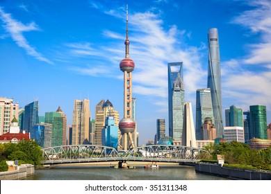 Shanghai skyline with historical Waibaidu bridge, China