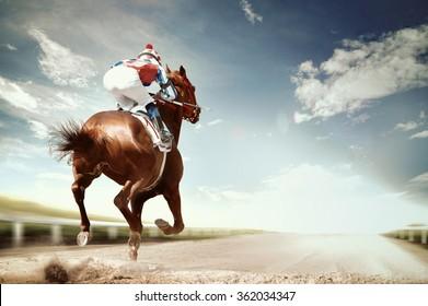 Rennpferd kommt als erstes ins Ziel im Vintage-Stil