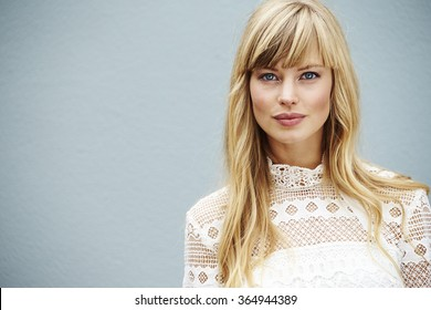 Blue eyed blond model looking at camera