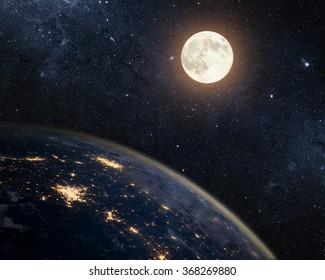 地球、月、星。NASAから提供されたこの画像の要素。