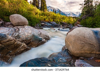 This stream drains the high peaks of the Alaska Range near the Richardson Highway, Alaska