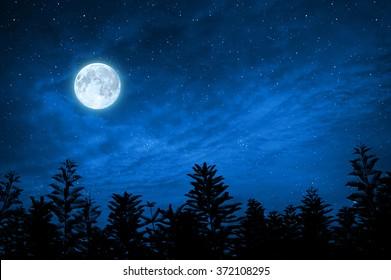 bosque en silueta con cielo estrellado y luna llena, los elementos de esta imagen son proporcionados por la nasa