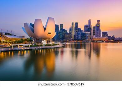 Singapore skyline at the Marina during twilight.