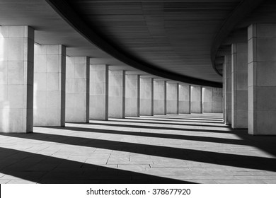 Long tunnel with columns in black and white