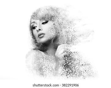 Mujer de maquillaje de moda con efecto de dispersión pixelada. Retrato del primer del arte aislado en el fondo blanco. En blanco y negro
