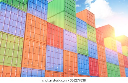 Many sea containers of differnt colours stocked. Blue sky above. Filter, tonned. Concept of shipping. 3D rendering