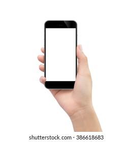 Hand, die schwarzes Telefon lokalisiert auf weißem Beschneidungsweg innen hält