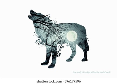 Illustration of wolf silhouette. Double exposure with photo of full moon and trees. Poster for nature lovers