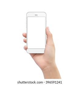 Hand hält Telefon lokalisiert auf weißem Beschneidungspfad innen