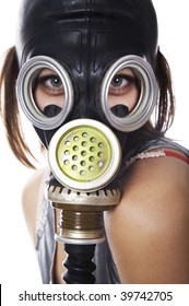 Girl in respirator on white isolated background