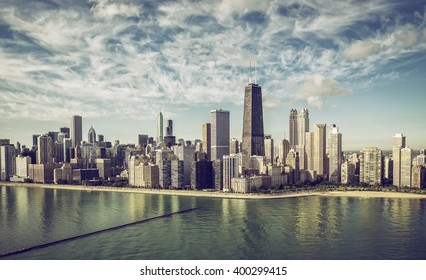 Chicago Skyline aerial view skyscrapers by the beach , vintage colors