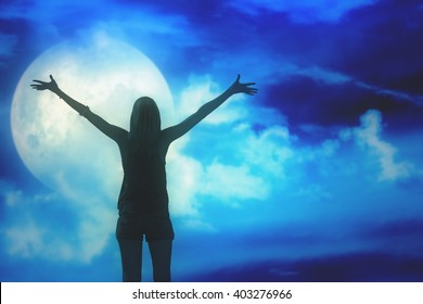 Girl watching the Moon.