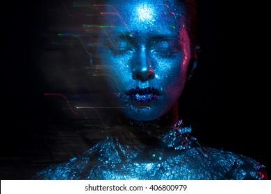Blaues und rotes Lichtschönheitsfoto!