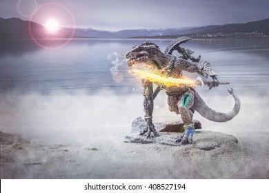 Krieger Eidechse Mann Atem für den Kampf