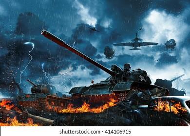 Drie tanks onder vuur van vijandelijke vliegtuigen
