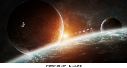 View of a sunrise on a distant planet system in space '3D rendering' 'elements of this image furnished by NASA'