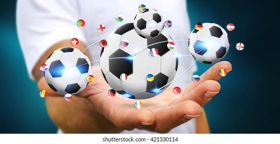 Geschäftsmann, der zurückhält und weißen Fußball in seiner Hand '3D-Darstellung'