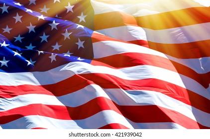 Flagge der USA mit Sonneneruption